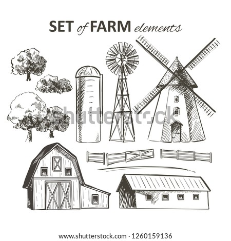 Rural dutch landscape with windmill and wheat field. Set of traditional windmill. Bakery shop, organic agricultural production, ecological food. Vector hand drawn vintage engraved sketch.