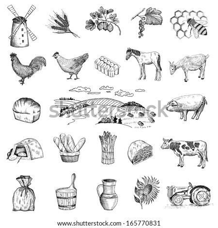 rural economy. set of vector sketches