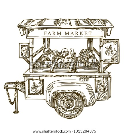 Rural farm market. Vintage trailer with vegetables and fruits. Sketch. Engraving style. Vector illustration.
