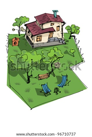 rural house - cartoon