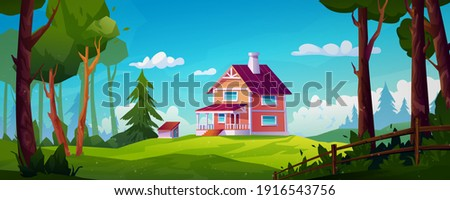 Rural house landscape forest scenery view on country home with chimney, stairs and porch. Vector building in green wood with fir trees, eco environment. Construction in countryside, cartoon cottage