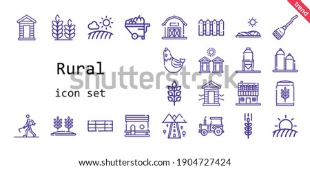 rural icon set. line icon style. rural related icons such as wheelbarrow, broom, cabin, silo, farmer hoeing, hen, farm house, chicken coop, field, road, barn, tractor, wheat, hay bale, fence, cabins,