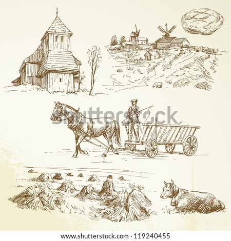 rural landscape, farming, haying - hand drawn collection