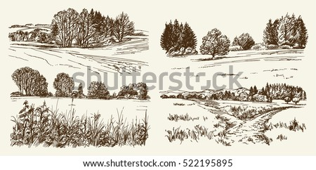 rural landscape hand drawn set