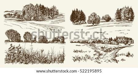rural landscape hand drawn set