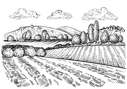 Rural landscape, handdrawn inked sketch style illustration. Hand draw illustration of outdoor natural scenic. Agricultural farm and field. Vector monochrome outline image