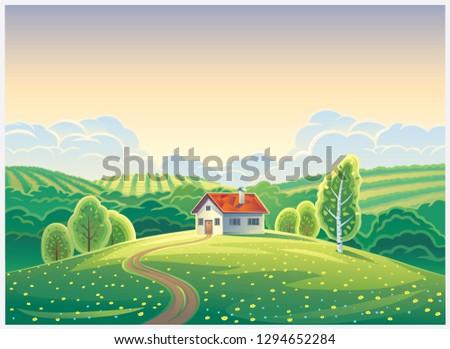 rural landscape in cartoon