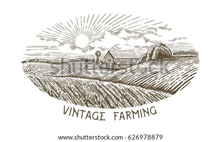 rural landscape in engraving...