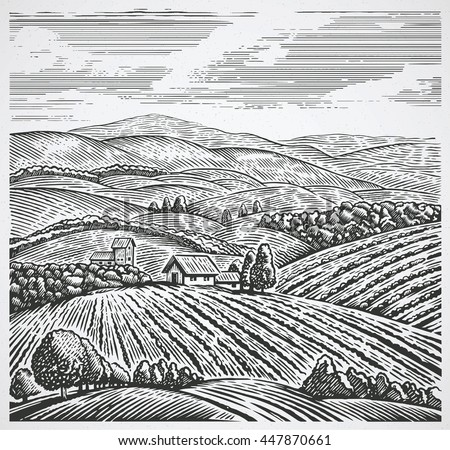 rural landscape in graphic