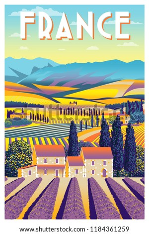 Rural landscape in summer day in Provence, France. Handmade drawing vector illustration. Vintage style poster.