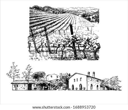rural landscape  ink drawing of