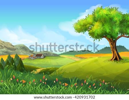 Rural landscape, nature, summer, vector background