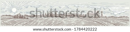 Rural landscape panoramic format with a farm. Hand drawn Illustration in engraving style.