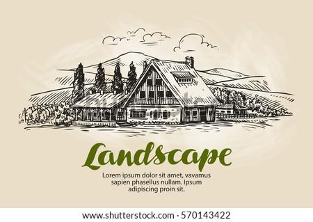 rural landscape sketch farm