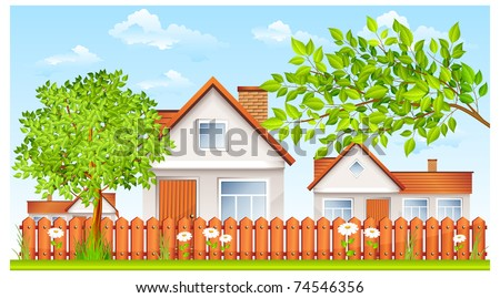 rural landscape, small house with fence and garden vector illustration