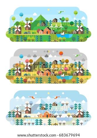 rural landscape three seasons