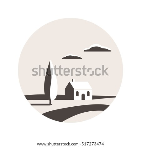 Rural landscape. Valley with tree, clouds and house. Home logo. House icon. Vector illustration design