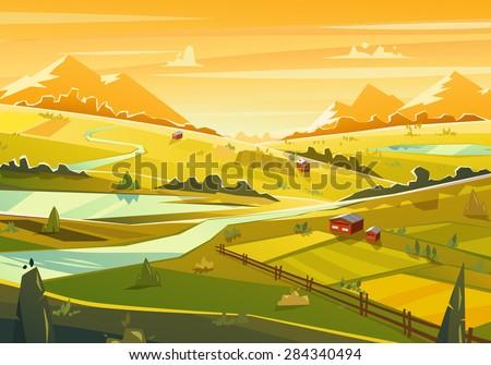 rural landscape vector design