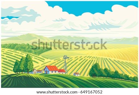 Rural landscape with a beautiful view of distant fields and hills. Vector illustration.