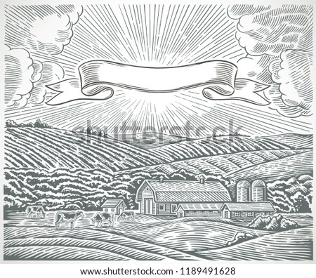 Rural landscape with a farm and with herd cows, with tape for labels, drawn in engraving style.