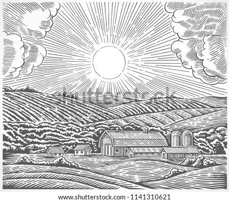 Rural landscape with a farm and with the sun in the sky, drawn in engraving style.