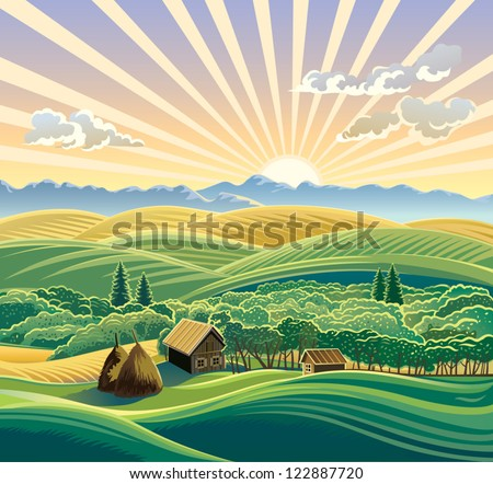 Rural landscape with a hut.