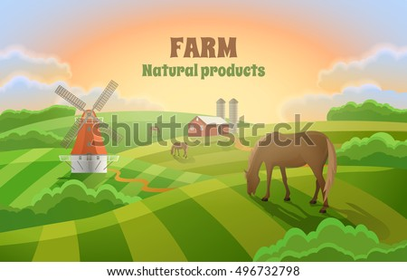 rural landscape with a mill  a