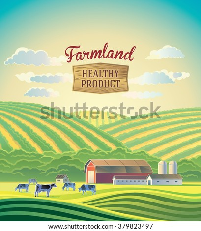 rural landscape with farm and a