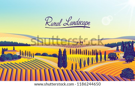 Rural landscape with farms, meadows, fields, trees and forests in the background. Handmade drawing vector illustration. Flat design. Can be used for making banners, posters, advertising, etc.
