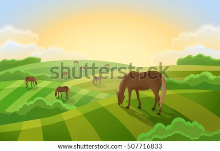 rural landscape with  grazing