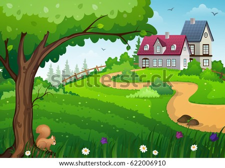 Rural landscape with green meadow, tree and buildings #622006910