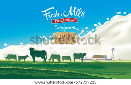 rural landscape with herd cows