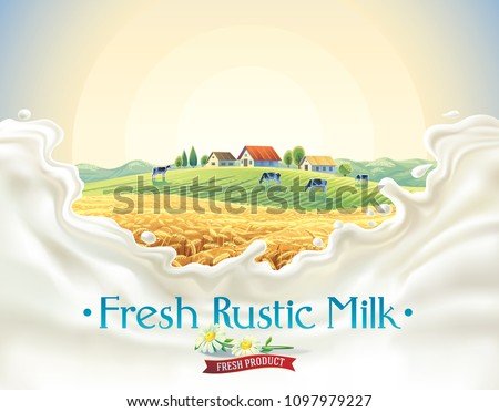 Rural landscape with herd cows, in frame  splashes from milk, with the inscription as decorative design elements.
