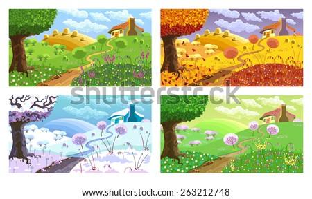 rural landscape with hills