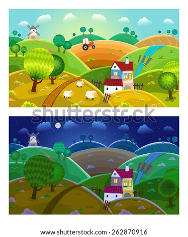 Rural landscape with hills, house, mill and tractor. Day and night.