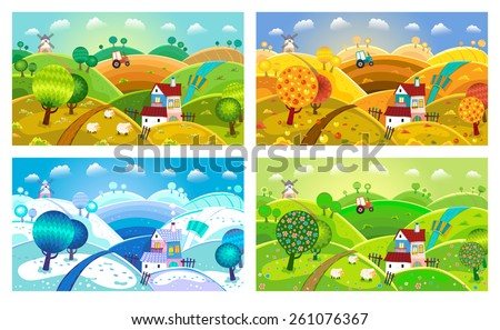 Rural landscape with hills, house, mill and tractor. Four seasons.