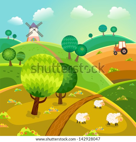 Rural landscape with hills, trees, sheeps and tractor. Vector.