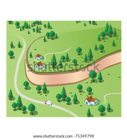 Rural landscape with houses and trees in the isometric - stock vector