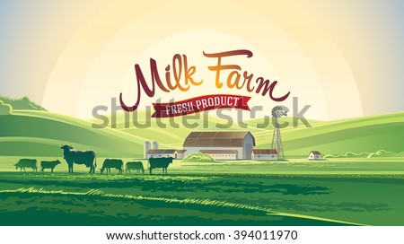 rural landscape with milk farm