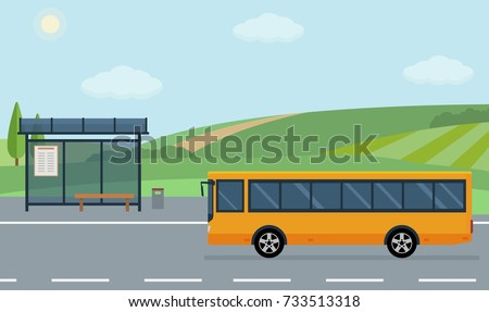 Rural landscape with road, bus stop and moving bus. Flat style vector illustration.