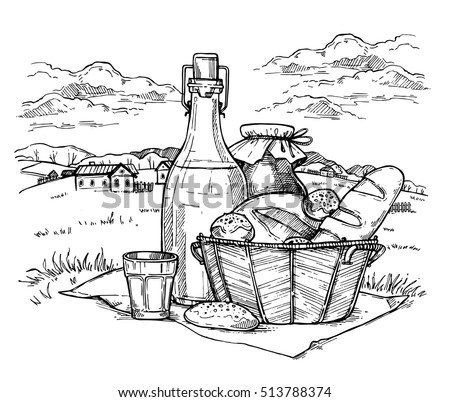 Rural landscape with set of farm food hand drawn sketch vector illustration. Bottle with milk and fresh homemade bread in basket. Organic nature product, traditional healthy food. Meadow picnic