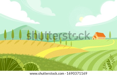 Rural landscape with sunny summer day in the village. Beautiful summer fields landscape with green hills, bright color blue sky and house. Country background. Green landscape with yellow fields.