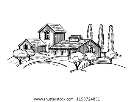 Rural landscape with Villa or farmhouse, field, trees and cypress trees. Vector illustration. Isolated images on white background. Vintage style.