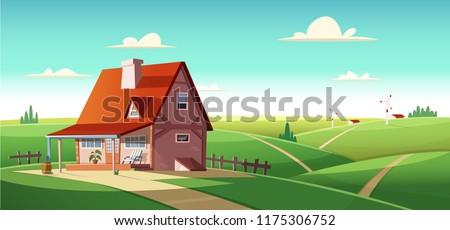 rural landscape with village