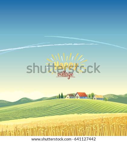 rural landscape with village on