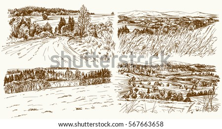 rural landscapes hand drawn set