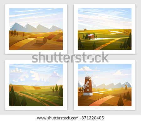 rural landscapes set of vector
