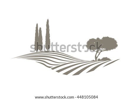 rural mediterranean vector landscape with plowed fields, cypresses and pine tree