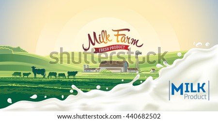 Rural morning landscape, with cow and splash of milk.