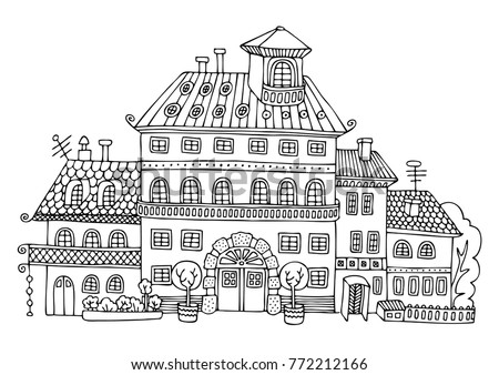 Rural Palace In Cartoon Style Hand Drawn Picture Sketch For Anti Stress Adult